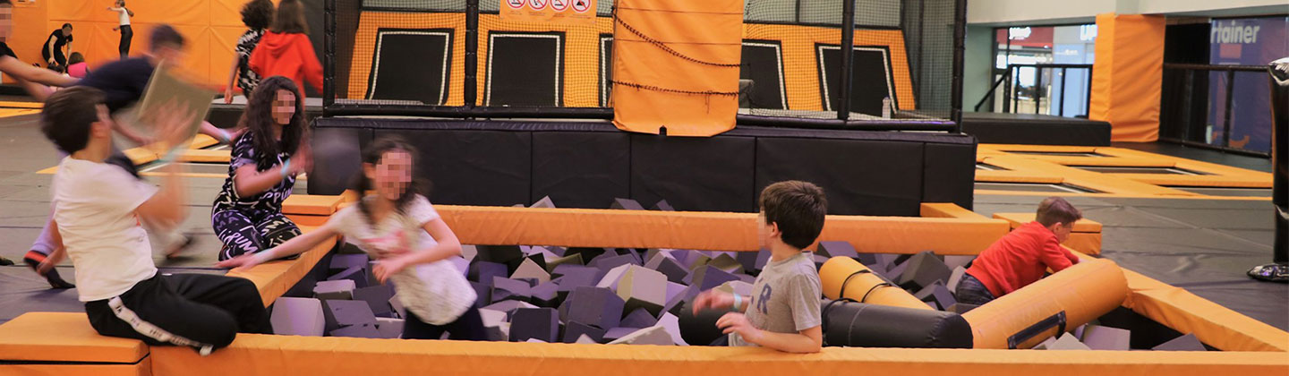 Orange black trampoline park