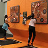 Orange black trampoline park interactive wall