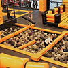 Orange black trampoline park kids foam pit