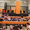 Orange black trampoline park foam pit kids