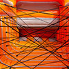 Gray Orange inflatable popup park  spiderweb obstacle