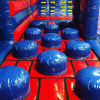 red and blue stepping stones on inflatazone inflatable theme park