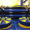 yellow blue wobbly bed inflatable theme park