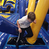 yellow blue obstacle course child