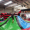 Red black green inflatable theme park slide obstacle course slide kid