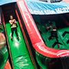Red black green inflatable theme park slide obstacle course children slide