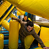 Yellow Blue Dark Blue inflatable theme park  obstacle doding kids