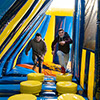 Yellow Blue Dark Blue inflatable theme park  kids running obstacle