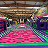 purple pink green bed theme park