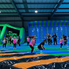 green blue inflatable theme park kids jumping