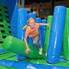 pink gray black inflatable theme park obstacles