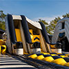 Yellow Grey black inflatable theme park obstacle course slide
