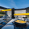 Yellow Grey black inflatable theme park obstacle course last one standing