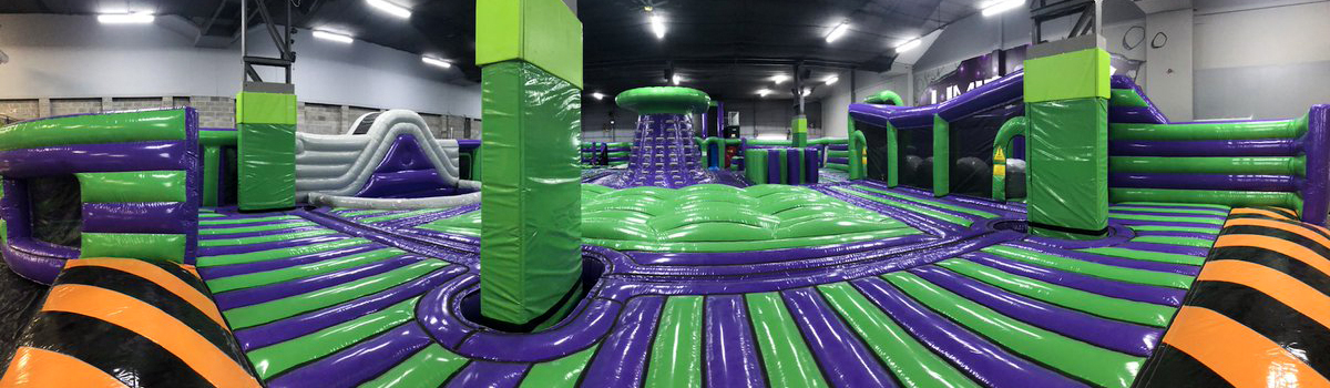purple green yellow interactive inflatable theme park