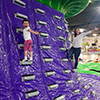 purple green climbing wall children and adults
