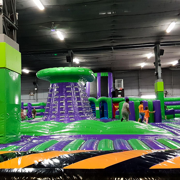 kinds jumping on green and purple inflatable