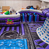 Purple blue black gray inflatable park obstacle course