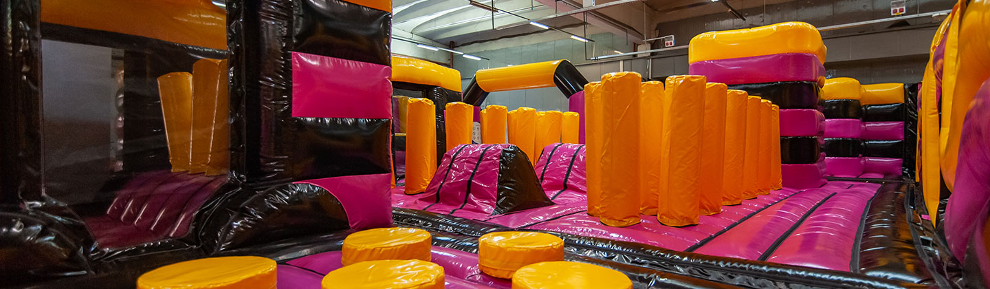 Blue Red Yellow Fuchsia Inflatable Park