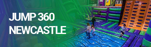 green blue orange inflatable theme park